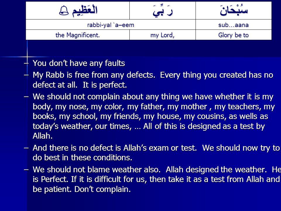 سُبْحَانَ رَ بِّيَ الْعَظِيم  sub…aana rabbi-yal `a–eem Glory be to my Lord, the Magnificent.