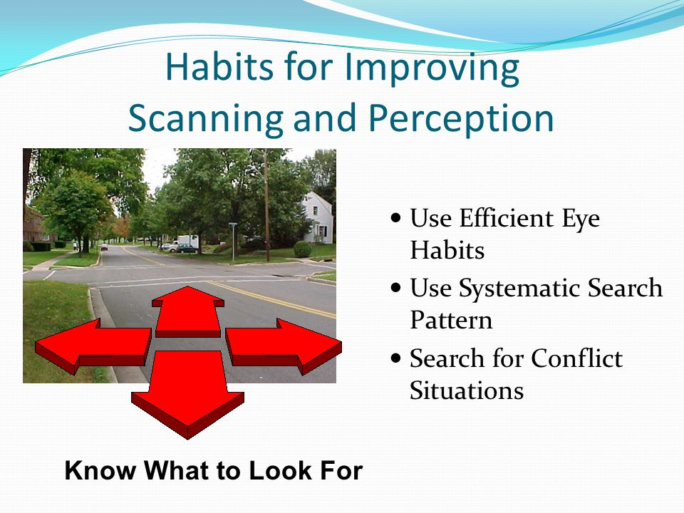 Know What to Look For Habits for Improving Scanning and Perception Use Efficient Eye Habits Use Systematic Search Pattern Search for Conflict Situatio