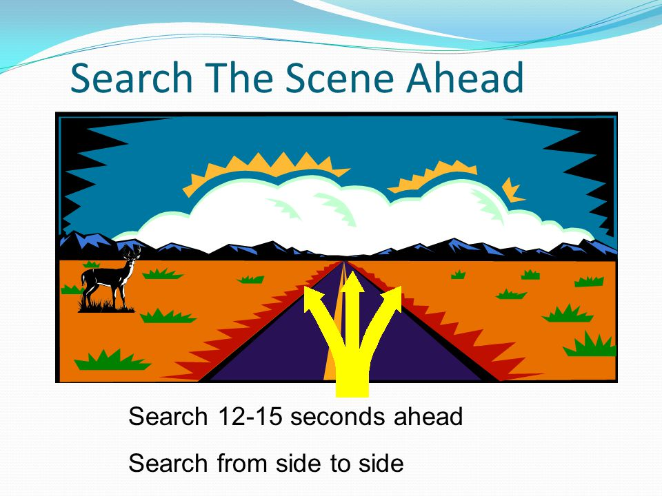 Search 12-15 seconds ahead Search from side to side Search The Scene Ahead