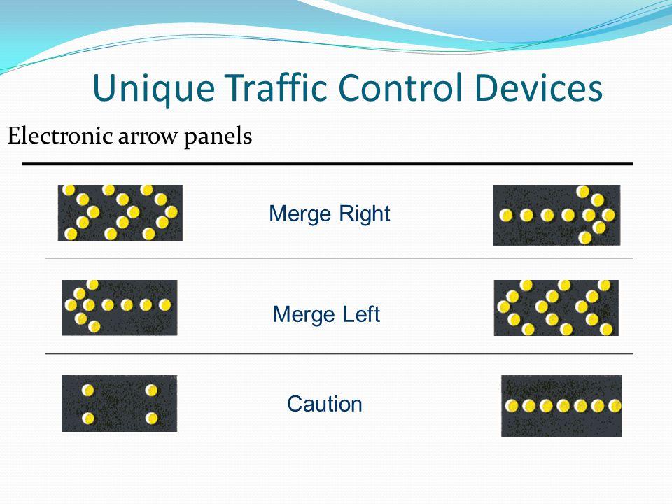 Unique Traffic Control Devices Electronic arrow panels Merge Right Merge Left Caution