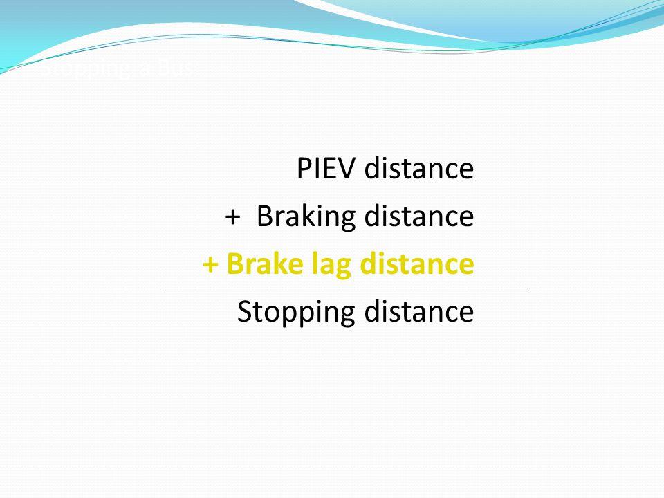 PIEV distance + Braking distance + Brake lag distance Stopping distance Stopping a Bus