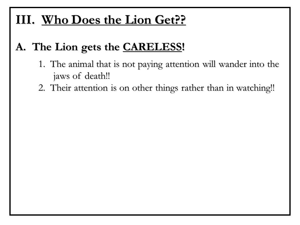 III. Who Does the Lion Get?? A. The Lion gets the CARELESS! 1. The animal that is not paying attention will wander into the jaws of death!! 2. Their a