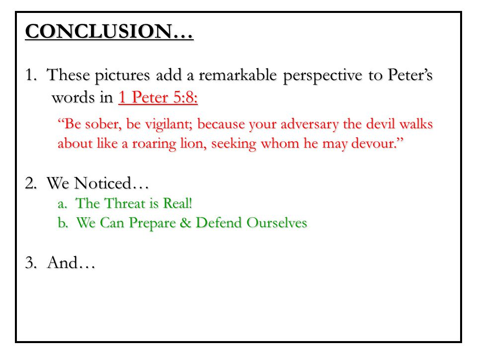 "CONCLUSION… 1. These pictures add a remarkable perspective to Peter's words in 1 Peter 5:8: ""Be sober, be vigilant; because your adversary the devil w"