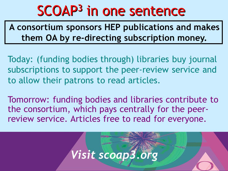 22 SCOAP 3 in one sentence A consortium sponsors HEP publications and makes them OA by re-directing subscription money.