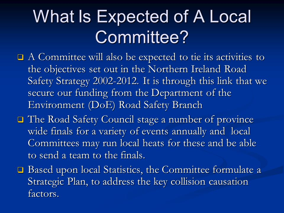 What Is Expected of A Local Committee.