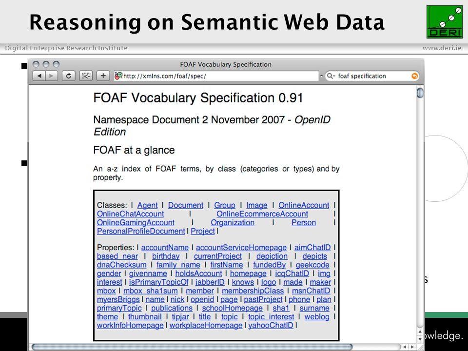 Digital Enterprise Research Institute www.deri.ie Reasoning on Semantic Web Data Vocabularies (i.e.