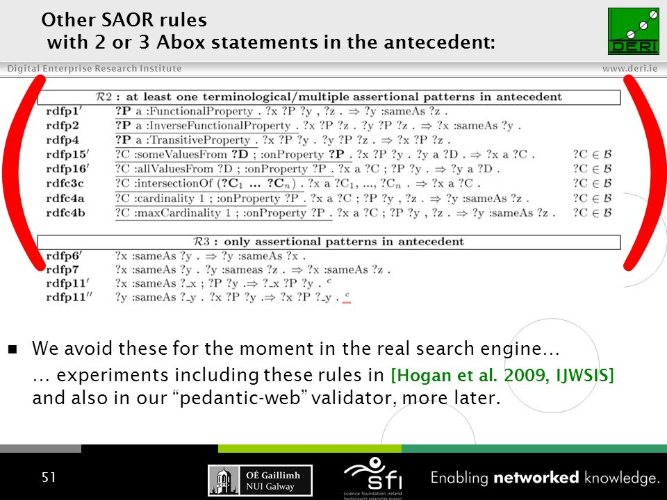 Digital Enterprise Research Institute www.deri.ie Other SAOR rules with 2 or 3 Abox statements in the antecedent: 51 ( ) We avoid these for the moment in the real search engine… … experiments including these rules in [Hogan et al.