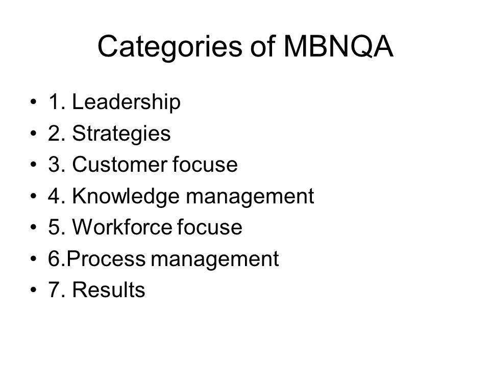 Categories of MBNQA 1. Leadership 2. Strategies 3. Customer focuse 4. Knowledge management 5. Workforce focuse 6.Process management 7. Results