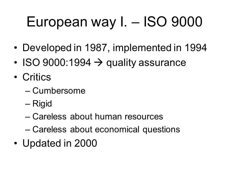 5 clausules of ISO 9000 Management system Management committment Resource management Product realization Measurement analysis