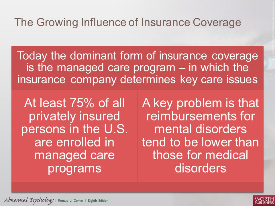 The Growing Influence of Insurance Coverage Today the dominant form of insurance coverage is the managed care program – in which the insurance company determines key care issues At least 75% of all privately insured persons in the U.S.