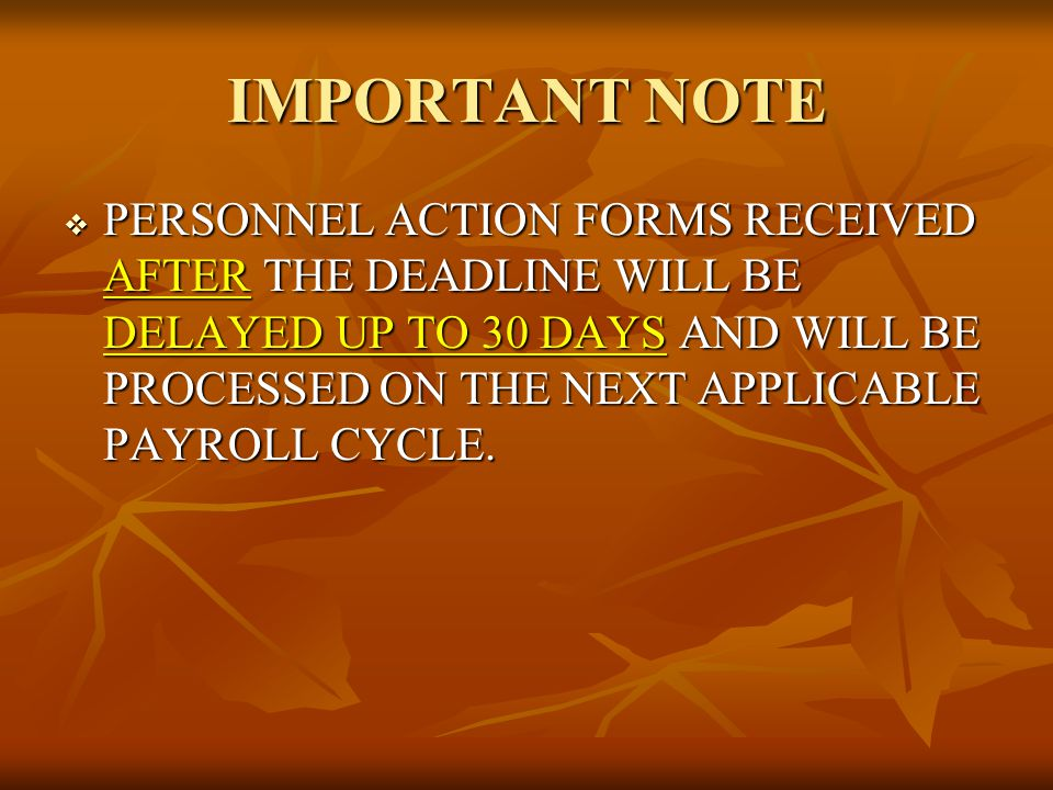 IMPORTANT NOTE  PERSONNEL ACTION FORMS RECEIVED AFTER THE DEADLINE WILL BE DELAYED UP TO 30 DAYS AND WILL BE PROCESSED ON THE NEXT APPLICABLE PAYROLL