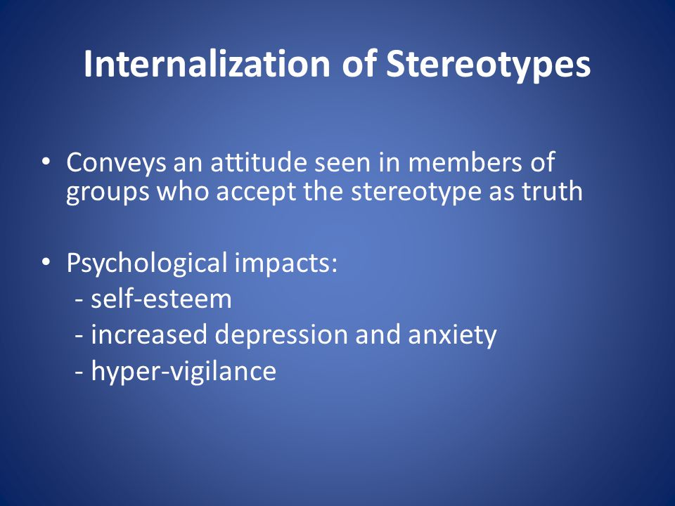 Stereotype Threat Refers to being at risk of confirming a negative stereotype about one s group Cognitive processes involved: 1.Reduced working memory capacity 2.Selective attention 3.Heuristics 4.Decision-Making