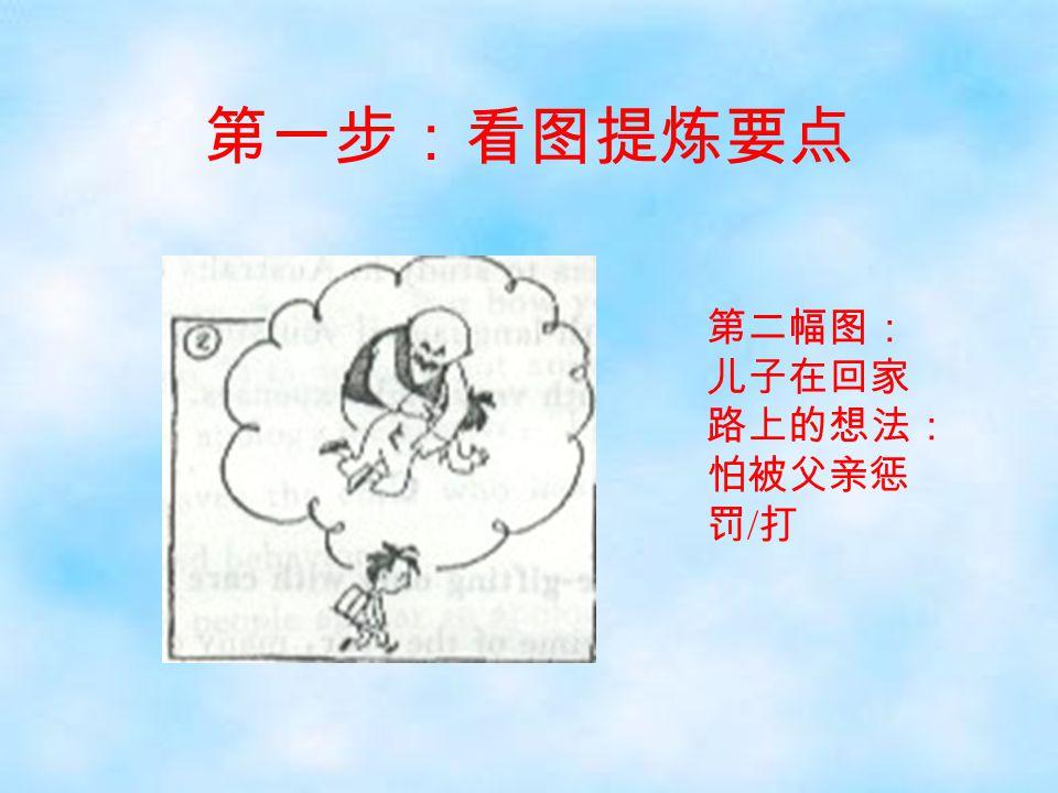 第一步:看图提炼要点 第二幅图: 儿子在回家 路上的想法: 怕被父亲惩 罚 / 打