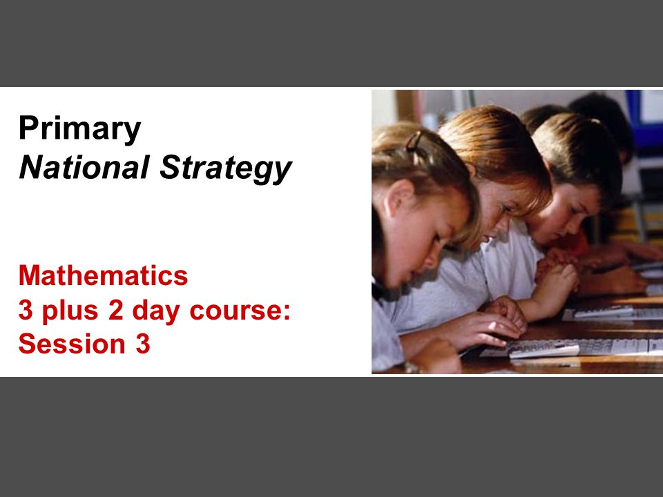 Primary National Strategy Mathematics 3 plus 2 day course: Session 3