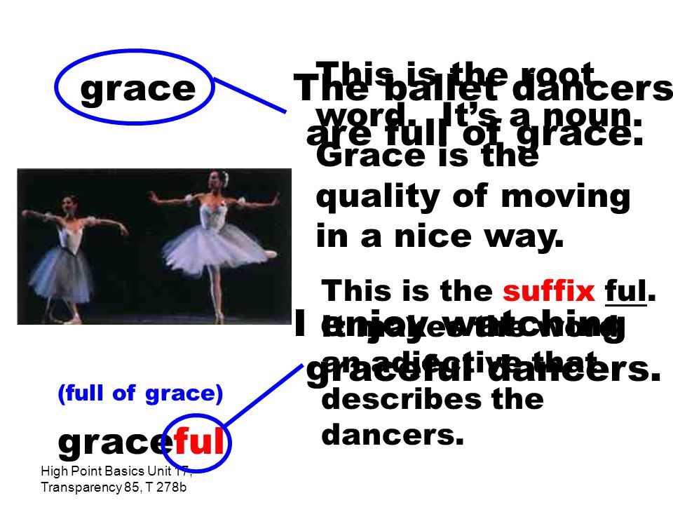 High Point Basics Unit 17, Transparency 85, T 278b The ballet dancers are full of grace.