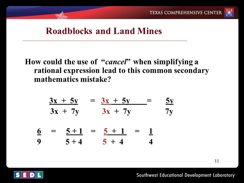 "11 Roadblocks and Land Mines How could the use of ""cancel"" when simplifying a rational expression lead to this common secondary mathematics mistake? 3"