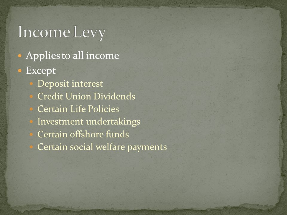Applies to all income Except Deposit interest Credit Union Dividends Certain Life Policies Investment undertakings Certain offshore funds Certain soci