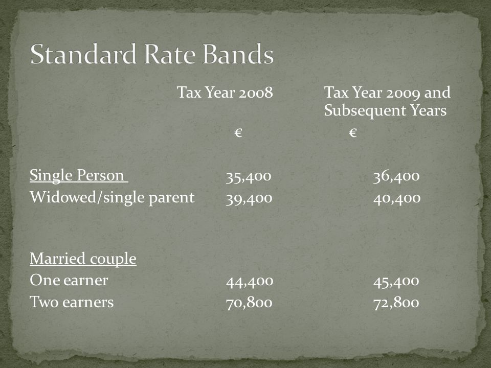 Tax Year 2008 Tax Year 2009 and Subsequent Years € € Single Person 35,400 36,400 Widowed/single parent 39,40040,400 Married couple One earner 44,400 4