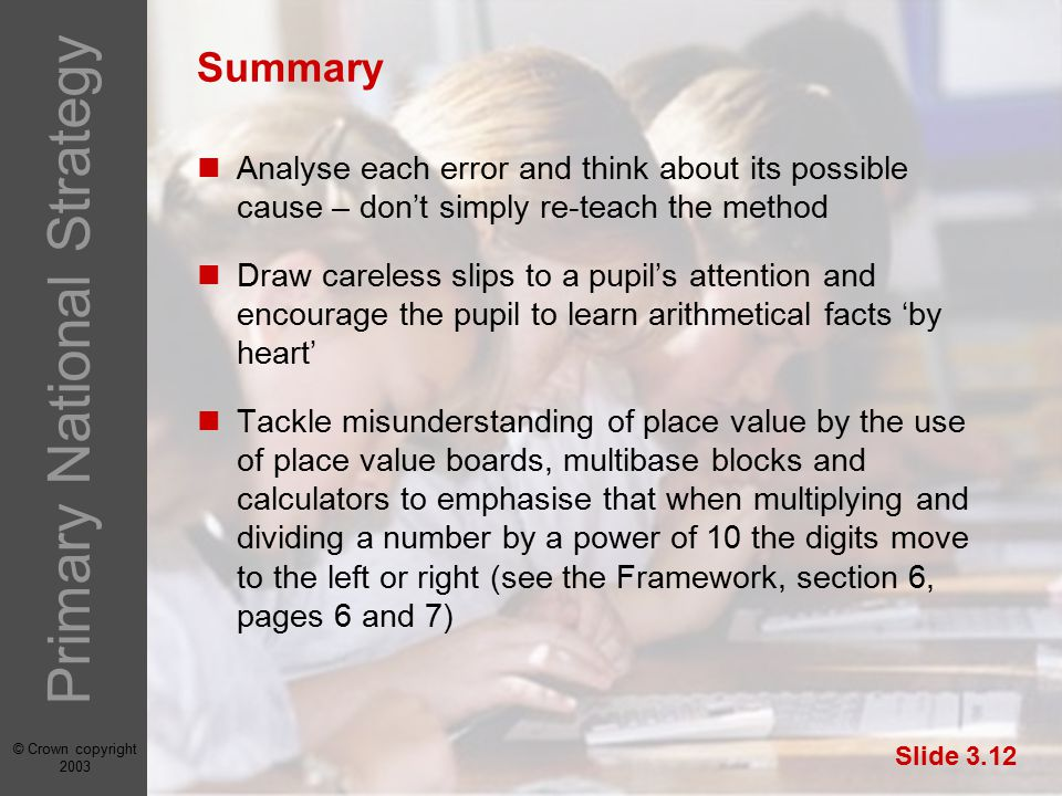 © Crown copyright 2003 Primary National Strategy Slide 3.12 Summary Analyse each error and think about its possible cause – don't simply re-teach the method Draw careless slips to a pupil's attention and encourage the pupil to learn arithmetical facts 'by heart' Tackle misunderstanding of place value by the use of place value boards, multibase blocks and calculators to emphasise that when multiplying and dividing a number by a power of 10 the digits move to the left or right (see the Framework, section 6, pages 6 and 7)