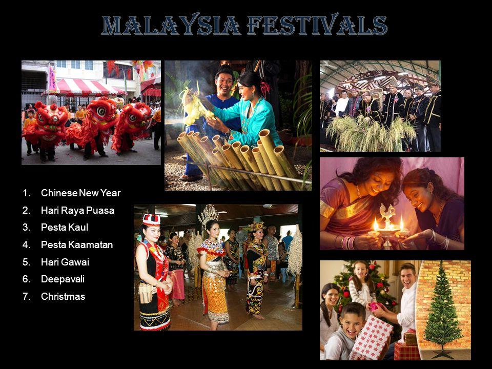 1.Chinese New Year 2.Hari Raya Puasa 3.Pesta Kaul 4.Pesta Kaamatan 5.Hari Gawai 6.Deepavali 7.Christmas