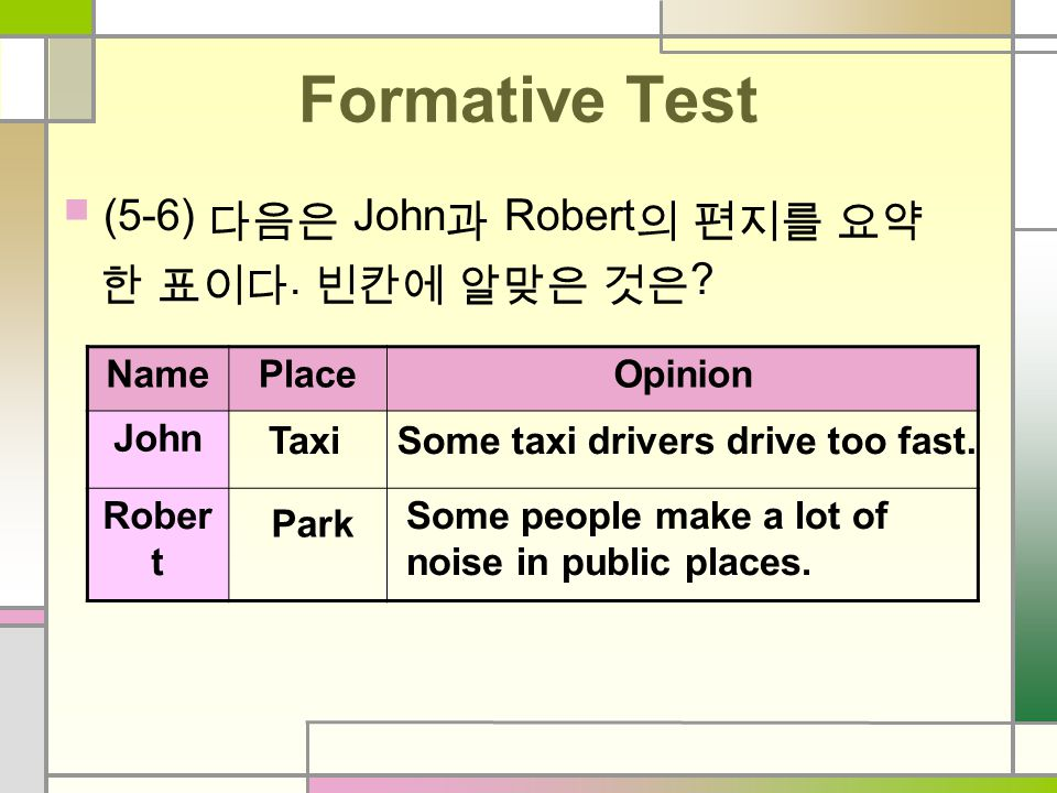 Formative Test (2-4). 다음 중 맞는 것은 T, 틀린 것에 F 를 각각 표시하시오. 2. In John's letter, the driver drove too slow. ( T / F ) 3. In Mary's letter, she thinks Kore