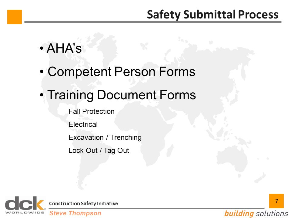 7 Construction Safety Initiative 7 Safety Submittal Process AHA's Competent Person Forms Training Document Forms Fall Protection Electrical Excavation