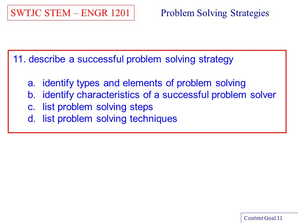 SWTJC STEM – ENGR 1201 Content Goal 11 Problem Solving Strategies 11. describe a successful problem solving strategy a.identify types and elements of