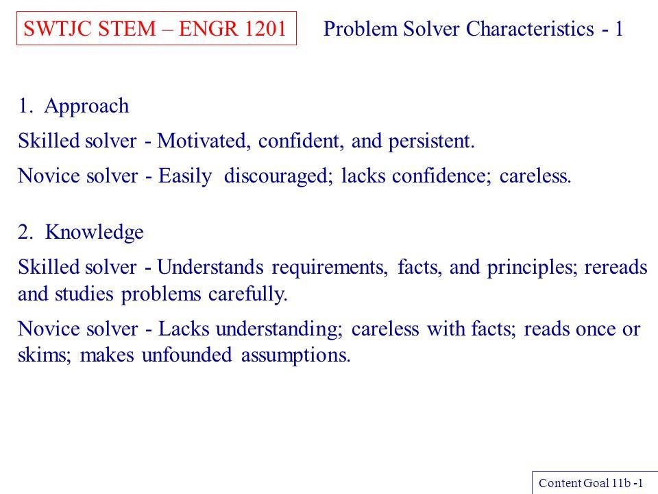 SWTJC STEM – ENGR 1201 Content Goal 11b -2 Problem Solver Characteristics - 2 3.
