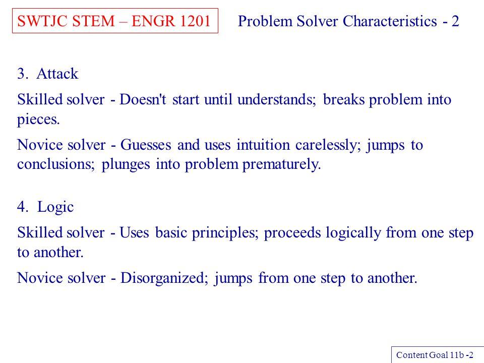 SWTJC STEM – ENGR 1201 Content Goal 11b -3 Problem Solver Characteristics - 3 5.