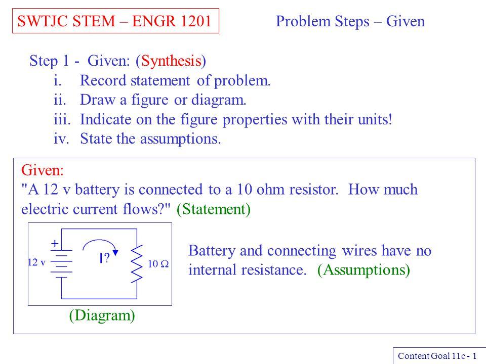SWTJC STEM – ENGR 1201 Content Goal 11c - 2 Problem Steps – Find Step 2 - Find: (Synthesis) i.