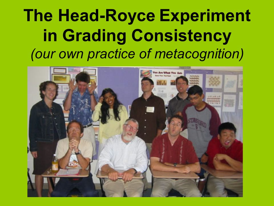 The Head-Royce Experiment in Grading Consistency (our own practice of metacognition)