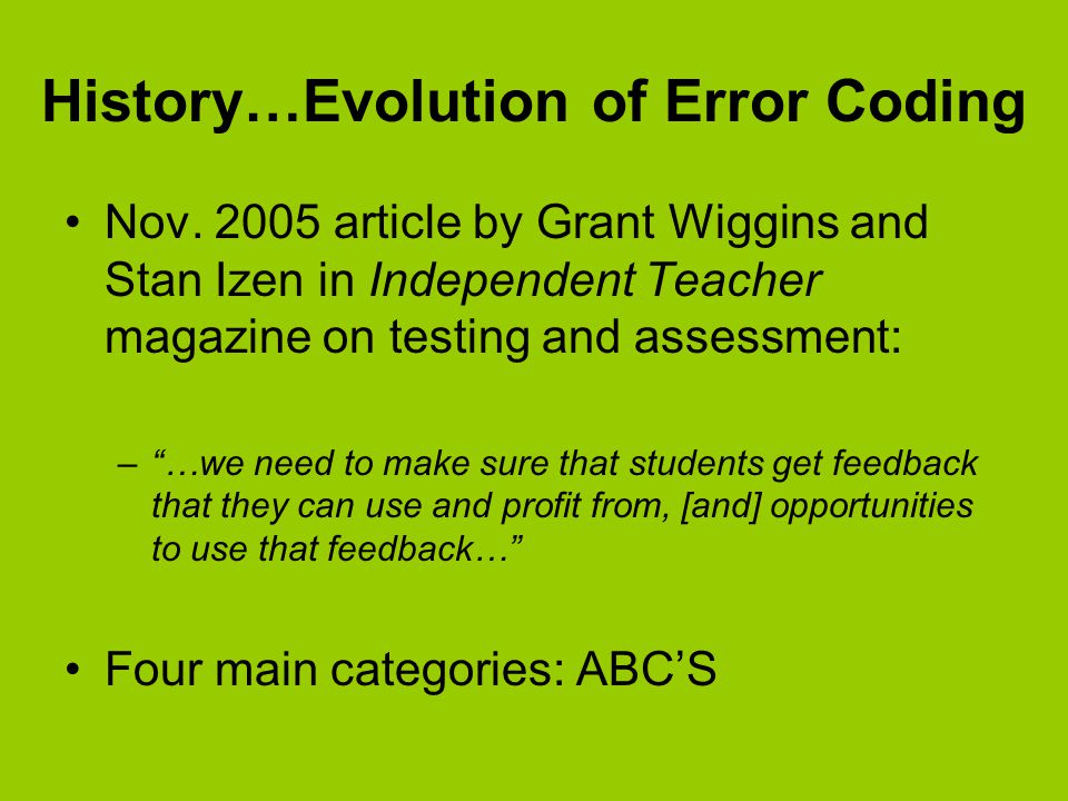 History…Evolution of Error Coding Nov.