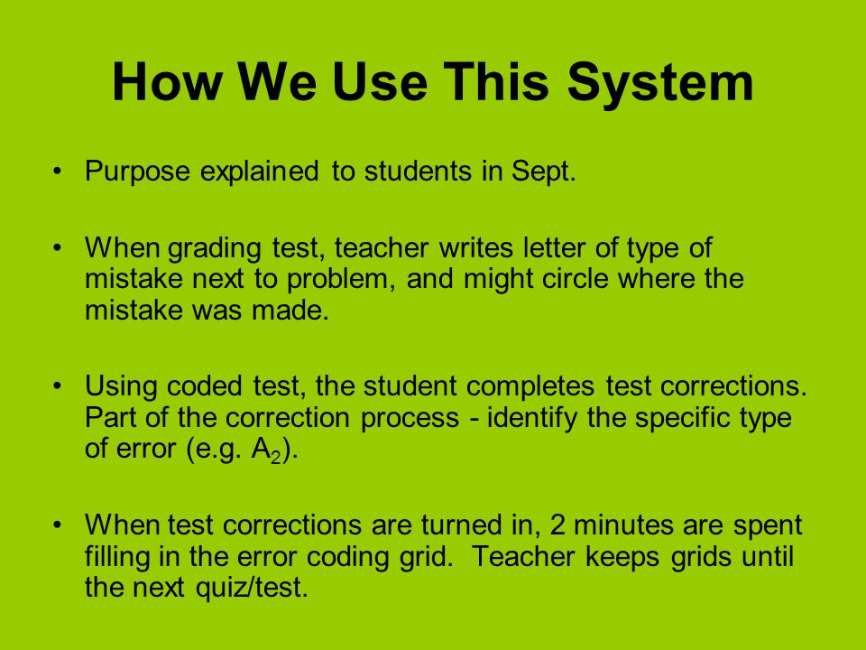 How We Use This System Purpose explained to students in Sept.