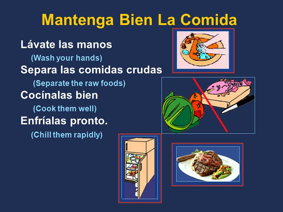 Mantenga Bien La Comida Lávate las manos (Wash your hands) Separa las comidas crudas (Separate the raw foods) Cocínalas bien (Cook them well) Enfríalas pronto.
