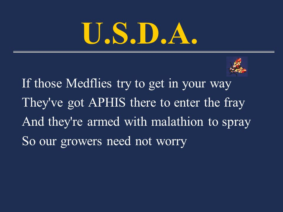 If those Medflies try to get in your way They ve got APHIS there to enter the fray And they re armed with malathion to spray So our growers need not worry U.S.D.A.