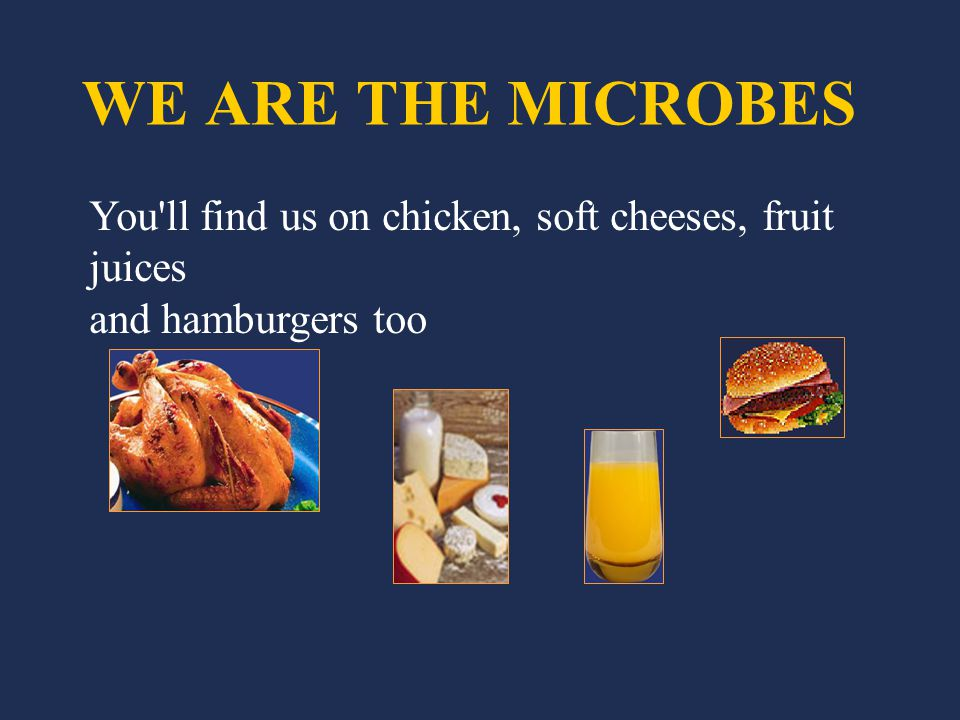 WE ARE THE MICROBES You ll find us on chicken, soft cheeses, fruit juices and hamburgers too