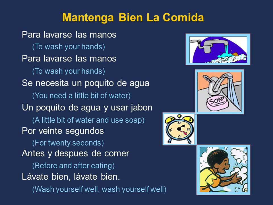 Para lavarse las manos (To wash your hands) Para lavarse las manos (To wash your hands) Se necesita un poquito de agua (You need a little bit of water) Un poquito de agua y usar jabon (A little bit of water and use soap) Por veinte segundos (For twenty seconds) Antes y despues de comer (Before and after eating) Lávate bien, lávate bien.