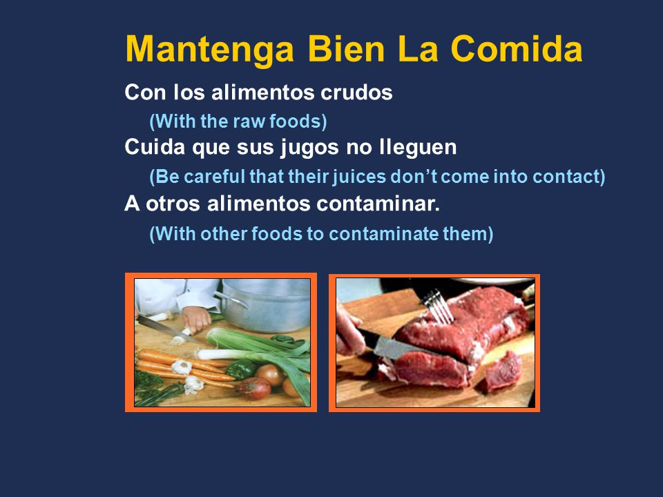 Con los alimentos crudos (With the raw foods) Cuida que sus jugos no lleguen (Be careful that their juices don't come into contact) A otros alimentos contaminar.