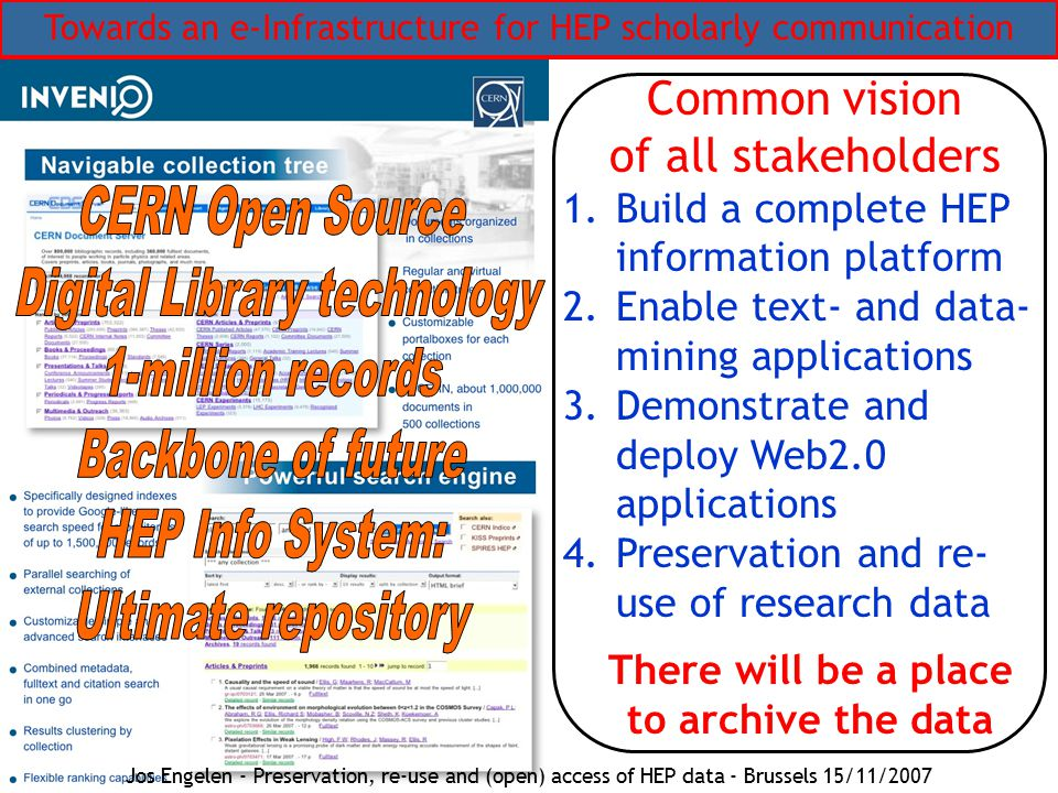Towards an e-Infrastructure for HEP scholarly communication Common vision of all stakeholders 1.Build a complete HEP information platform 2.Enable text- and data- mining applications 3.Demonstrate and deploy Web2.0 applications 4.Preservation and re- use of research data There will be a place to archive the data Jos Engelen - Preservation, re-use and (open) access of HEP data - Brussels 15/11/2007