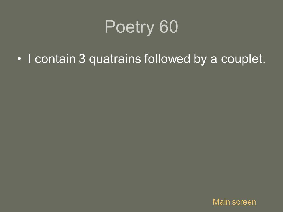 Poetry 60 I contain 3 quatrains followed by a couplet. Main screen