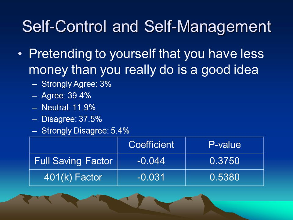 Self-Control and Self-Management Pretending to yourself that you have less money than you really do is a good idea –Strongly Agree: 3% –Agree: 39.4% –