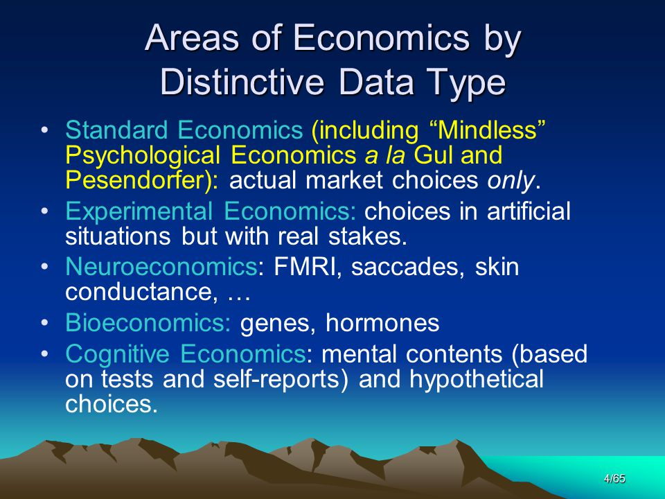 4/65 Areas of Economics by Distinctive Data Type Standard Economics (including Mindless Psychological Economics a la Gul and Pesendorfer): actual market choices only.