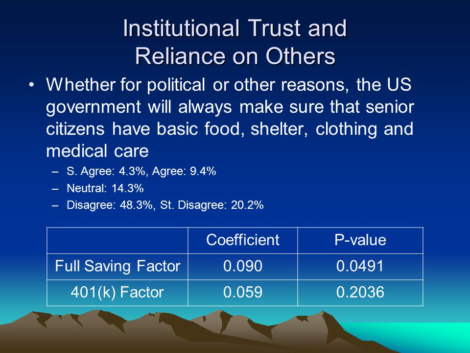 Institutional Trust and Reliance on Others Whether for political or other reasons, the US government will always make sure that senior citizens have basic food, shelter, clothing and medical care –S.