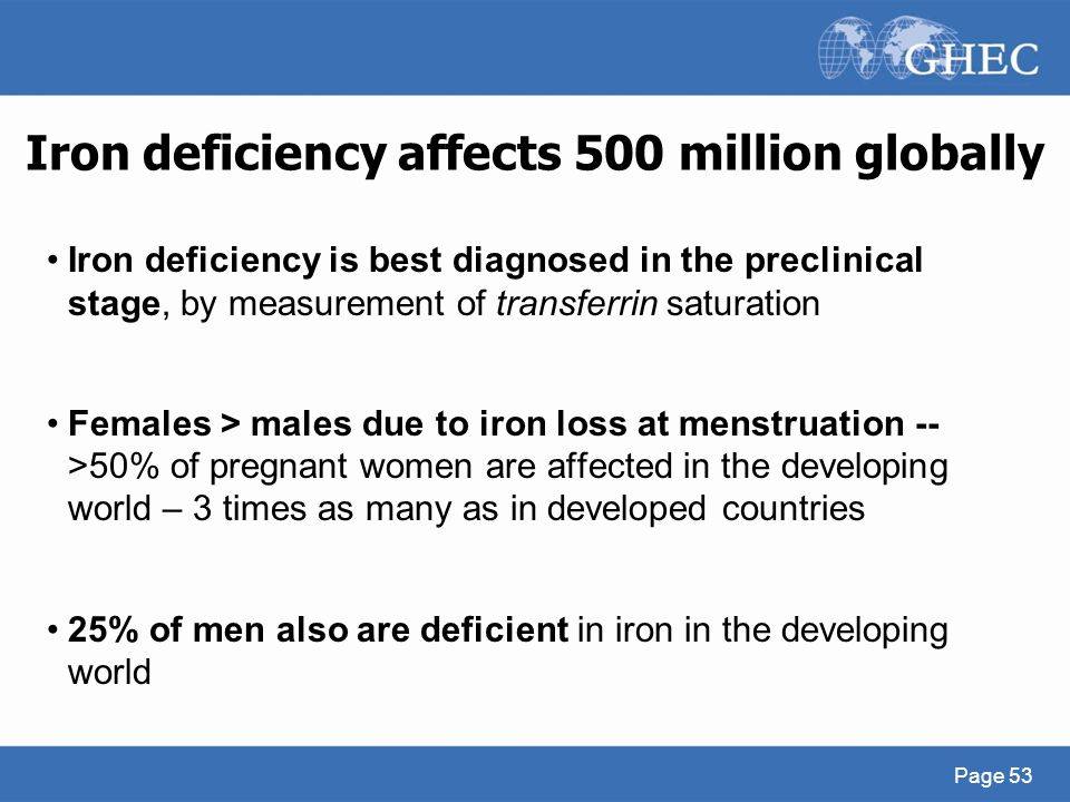 Iron deficiency affects 500 million globally Iron deficiency is best diagnosed in the preclinical stage, by measurement of transferrin saturation Fema
