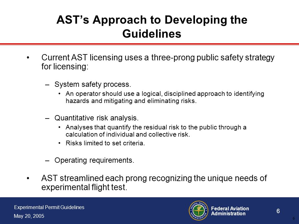 Federal Aviation Administration 6 Experimental Permit Guidelines May 20, 2005 6 AST's Approach to Developing the Guidelines Current AST licensing uses a three-prong public safety strategy for licensing: –System safety process.