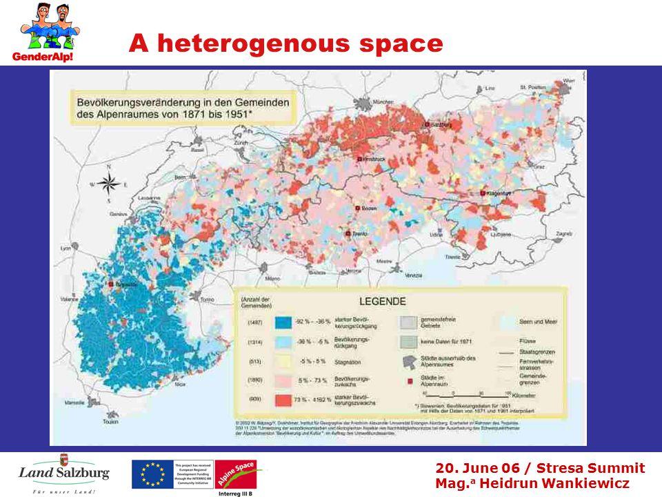 20. June 06 / Stresa Summit Mag. a Heidrun Wankiewicz A heterogenous space