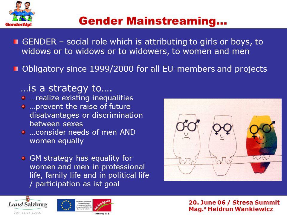 20. June 06 / Stresa Summit Mag. a Heidrun Wankiewicz Gender Mainstreaming… …is a strategy to….