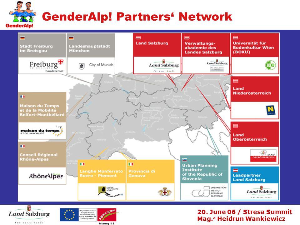 20. June 06 / Stresa Summit Mag. a Heidrun Wankiewicz GenderAlp! Partners' Network