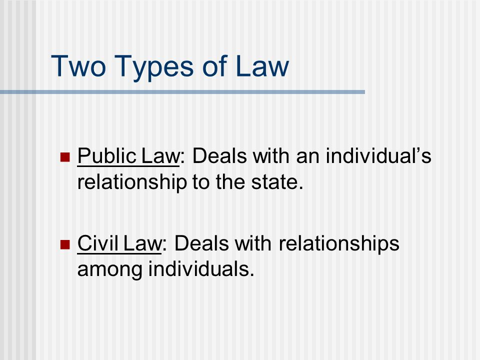 Two Types of Law Public Law: Deals with an individual's relationship to the state.