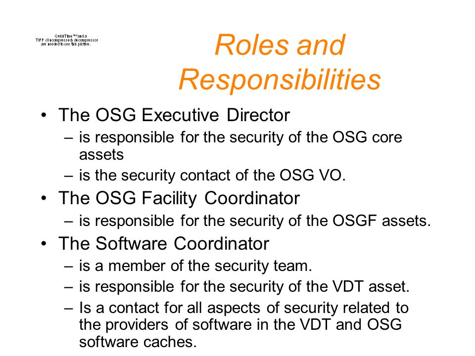 Roles and Responsibilities The OSG Executive Director –is responsible for the security of the OSG core assets –is the security contact of the OSG VO.